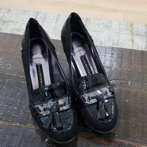 Size 7.5 black oxford block heel shoes like new